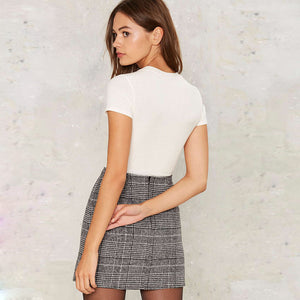 Zipper Plaid Mini Skirt