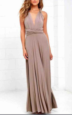 Sexy Taupe Boho Convertible Maxi Dress