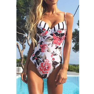 Sexy Floral Print Push Up Swimsuit