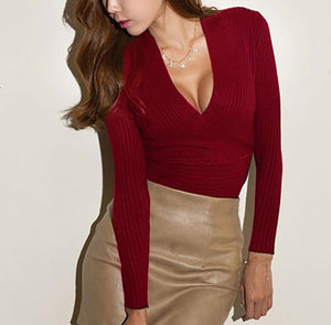 Winter and Autumn Deep V Knitted Cashmere Sweater