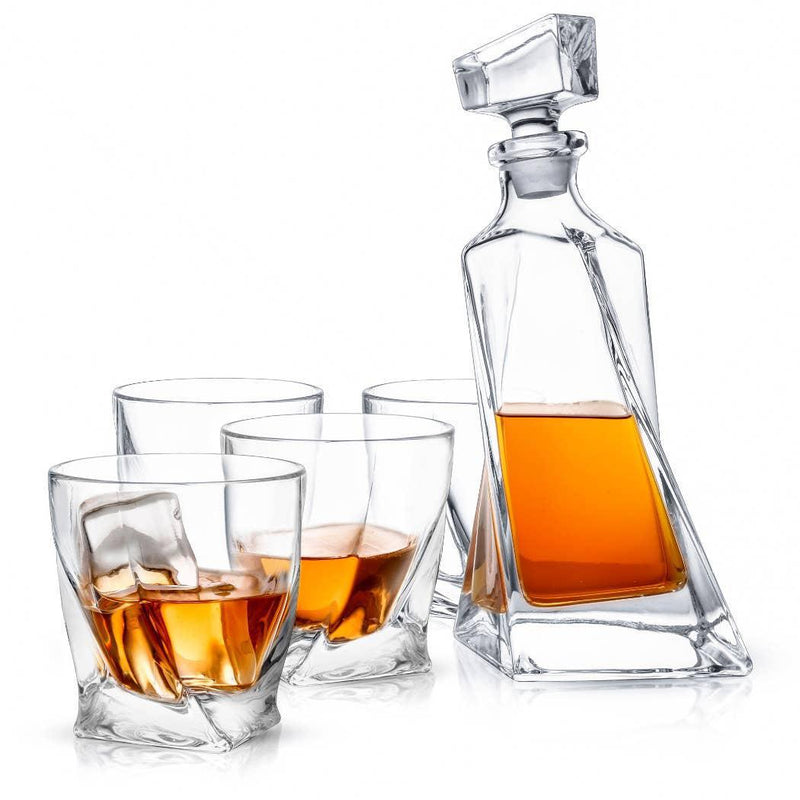 JOYJOLT Atlas Crystal Decanter Set