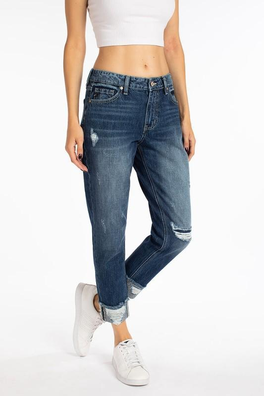 KANCAN BERENICE HIGH RISE BOYFRIEND JEANS - MEDIUM WASH
