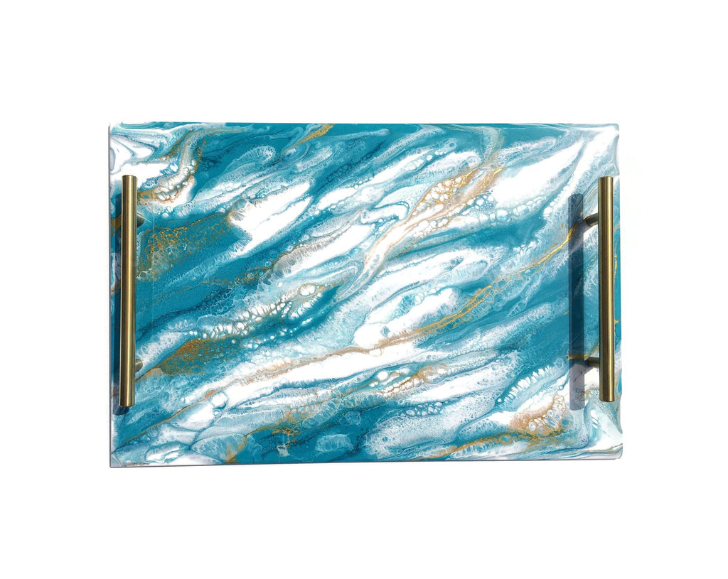 LYNN & LIANA Resin Serving Tray with Handles