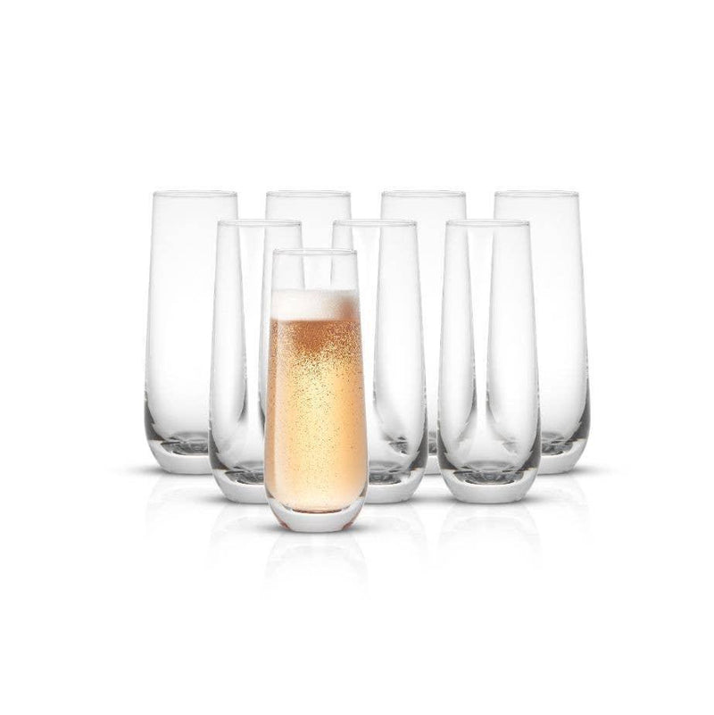 JOYJOLT - Milo Champagne Glasses 9.4 oz, Set of 8