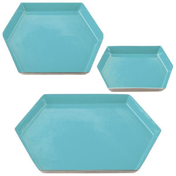 KARMA - HEXAGON ENAMEL TRAY SET IN AQUA