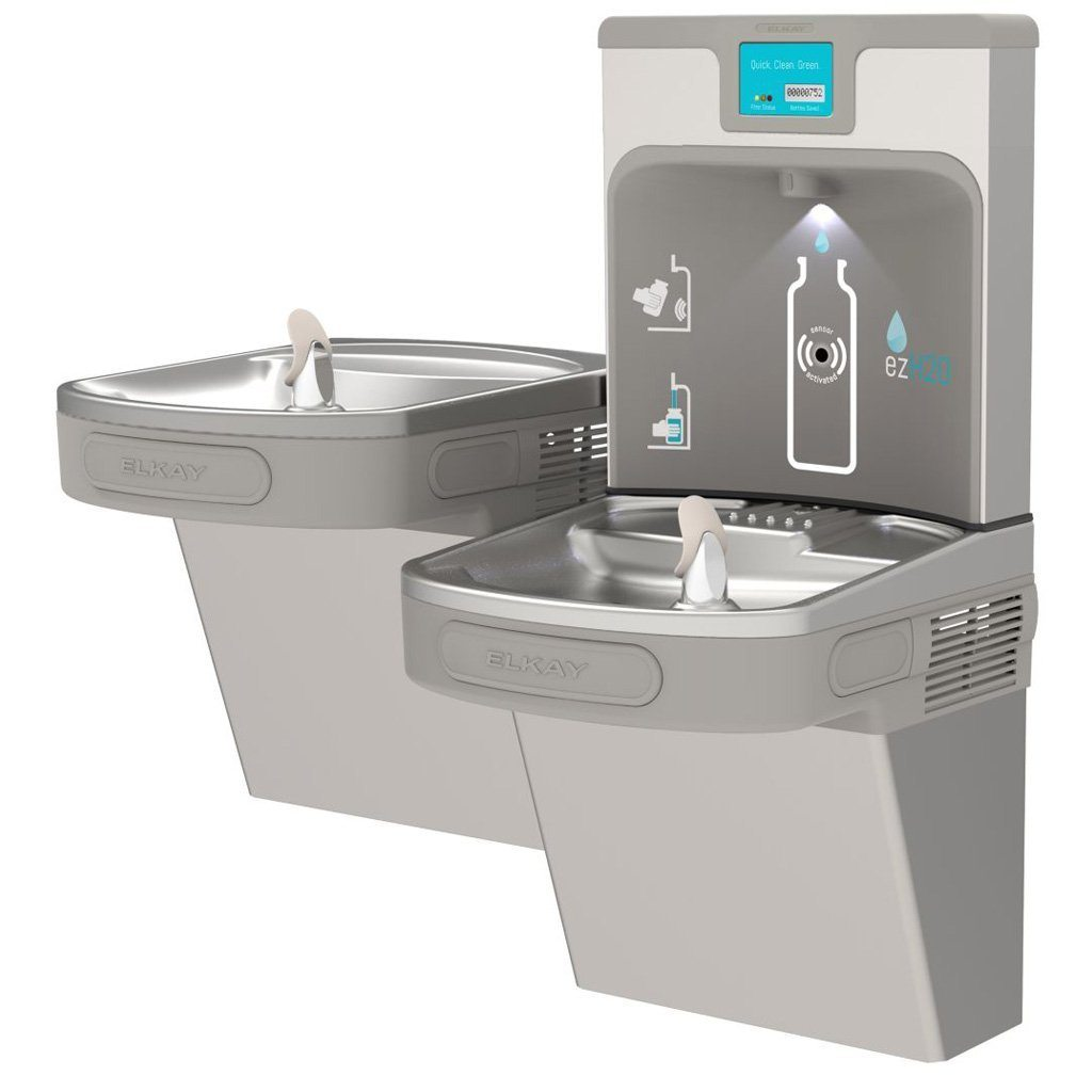 Filter Enhanced Elkay Bottle Filling Station with Bi-Level ADA Water Cooler Light Gray