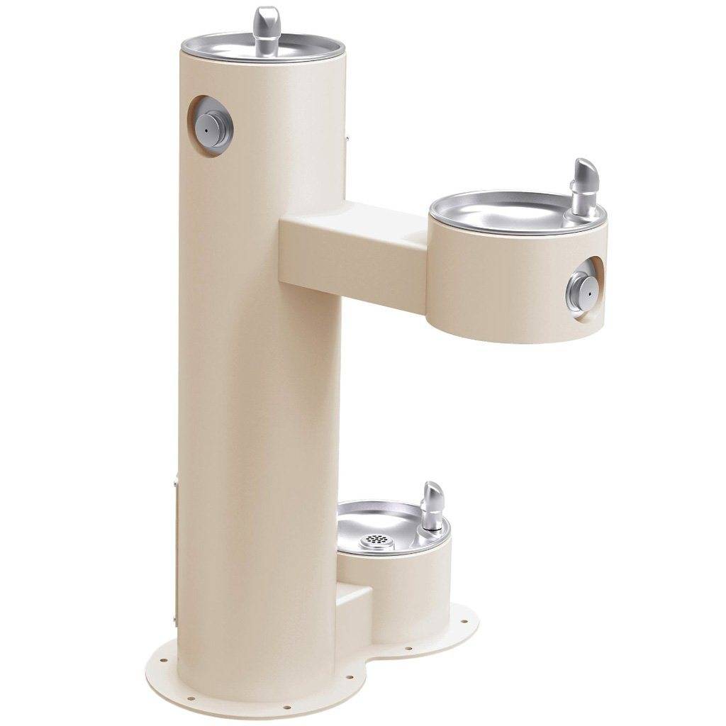 Outdoor Bi-Level ADA Pedestal Fountain with Pet Station Beige