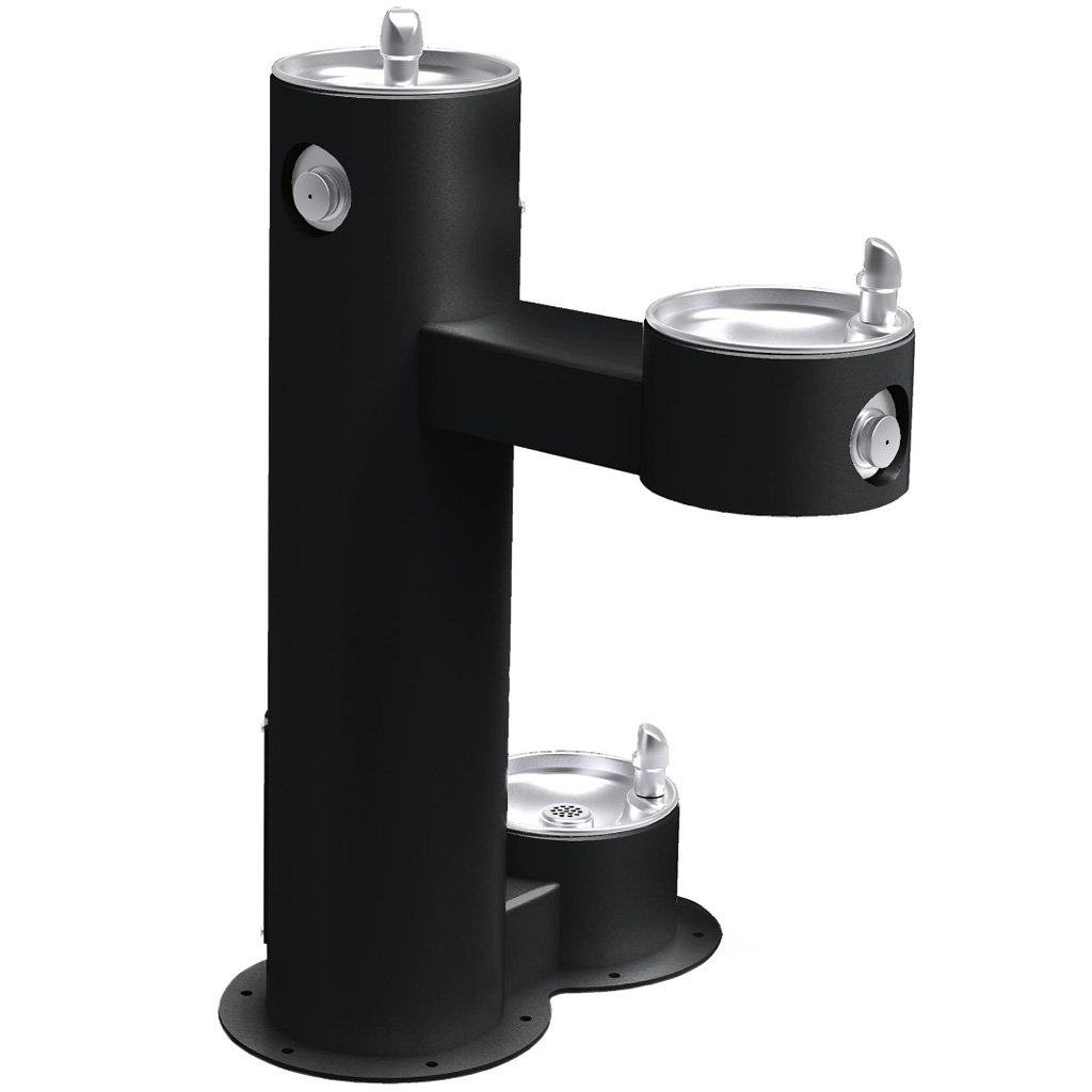 Outdoor Bi-Level ADA Pedestal Fountain with Pet Station Black