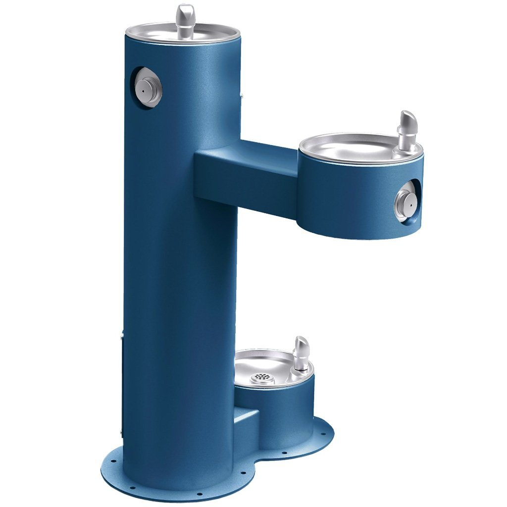 Outdoor Bi-Level ADA Pedestal Fountain with Pet Station Blue