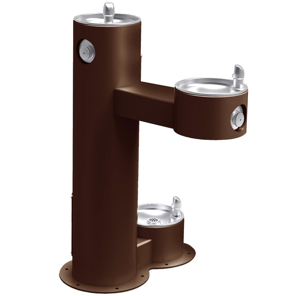 Outdoor Bi-Level ADA Pedestal Fountain with Pet Station Brown