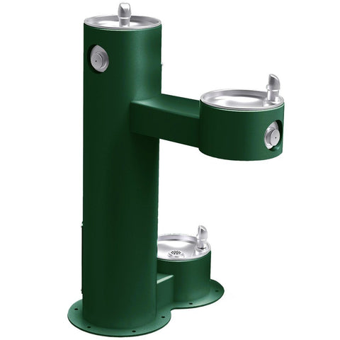 Outdoor Bi-Level ADA Pedestal Fountain with Pet Station Evergreen