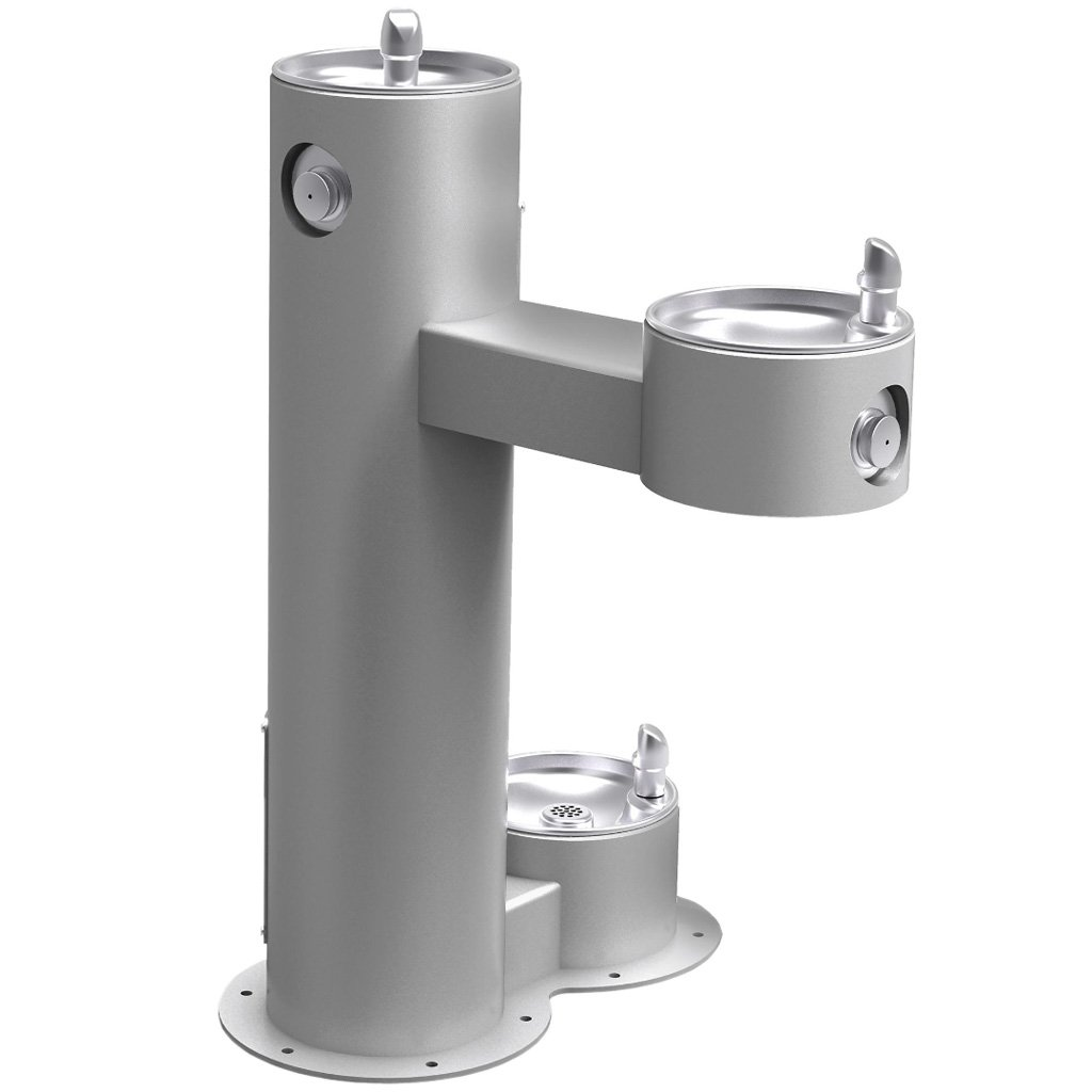 Outdoor Bi-Level ADA Pedestal Fountain with Pet Station Gray