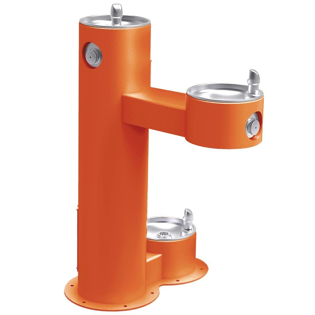 Outdoor Bi-Level ADA Pedestal Fountain with Pet Station Orange