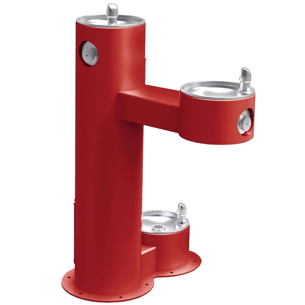Outdoor Bi-Level ADA Pedestal Fountain with Pet Station Red