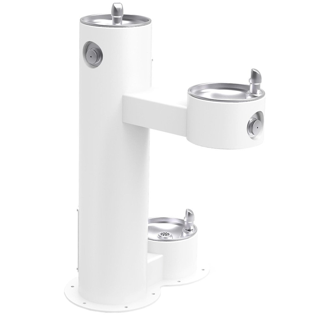 Outdoor Bi-Level ADA Pedestal Fountain with Pet Station White