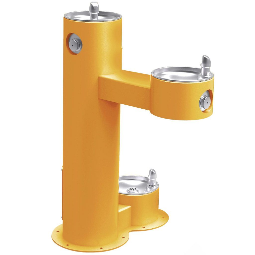 Outdoor Bi-Level ADA Pedestal Fountain with Pet Station Yellow
