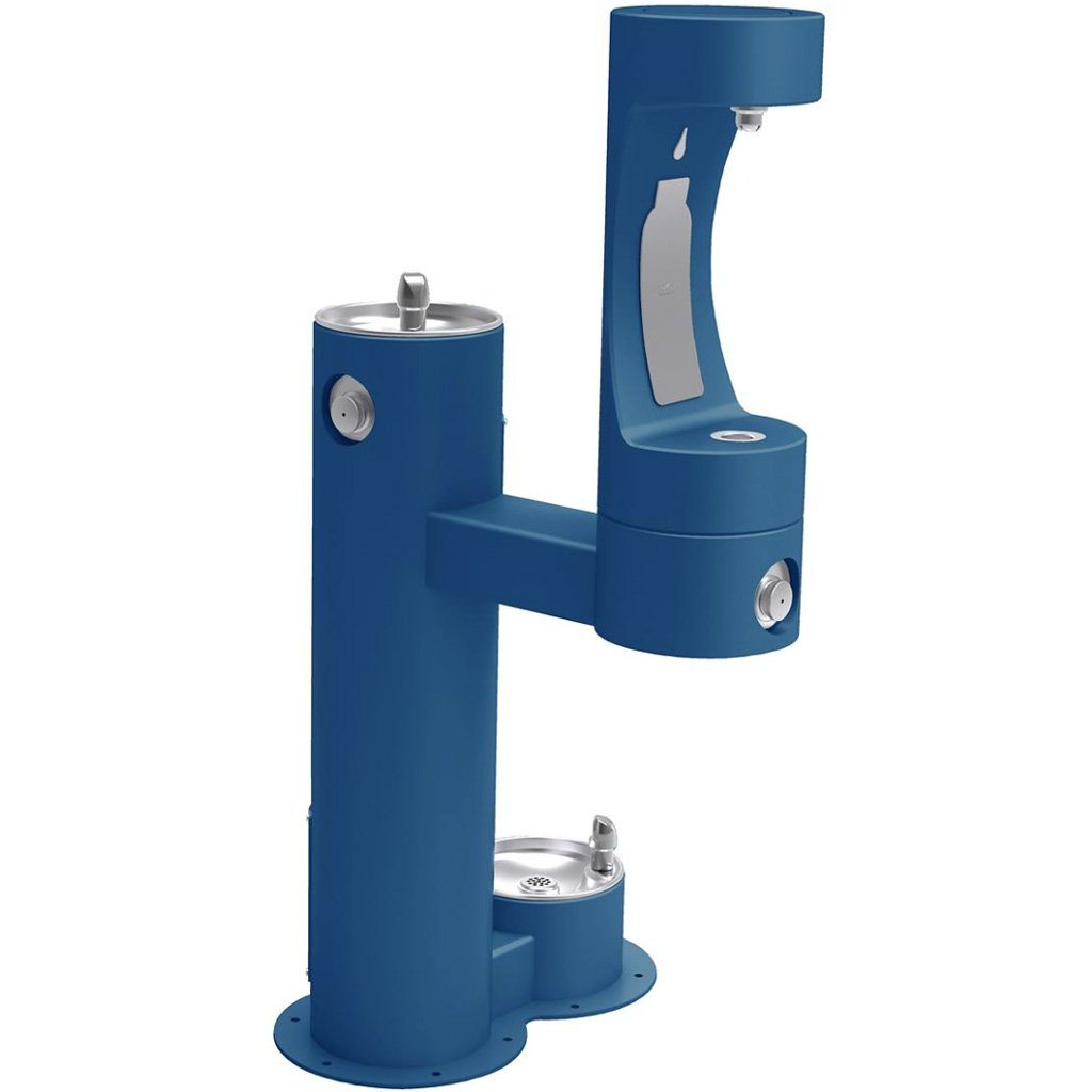 Elkay Outdoor Bi-Level Bottle Filling Station with Pet Station Blue