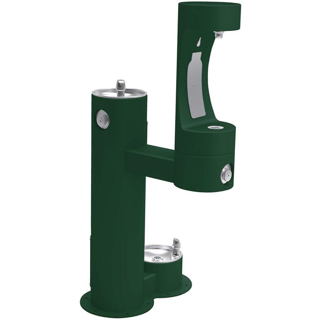 Elkay Outdoor Bi-Level Bottle Filling Station with Pet Station Evergreen