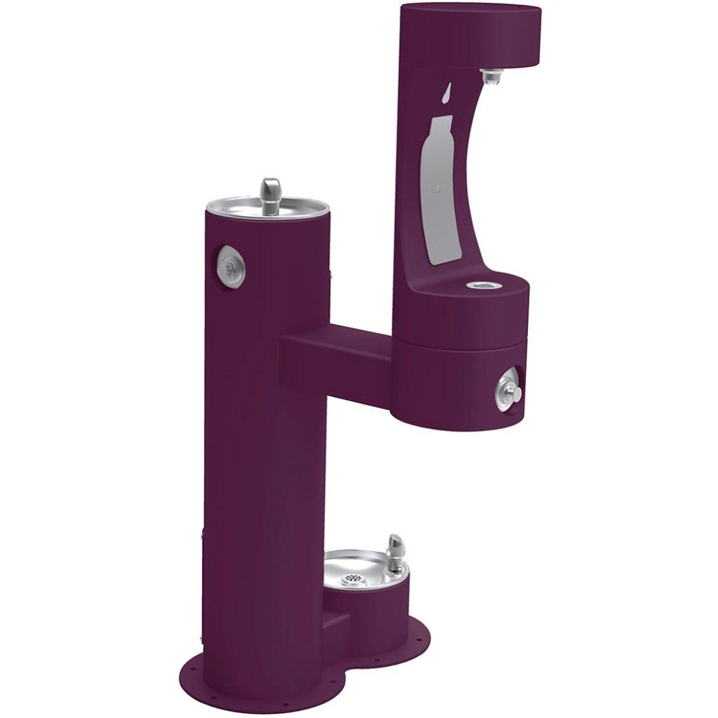 Elkay Outdoor Bi-Level Bottle Filling Station with Pet Station Purple