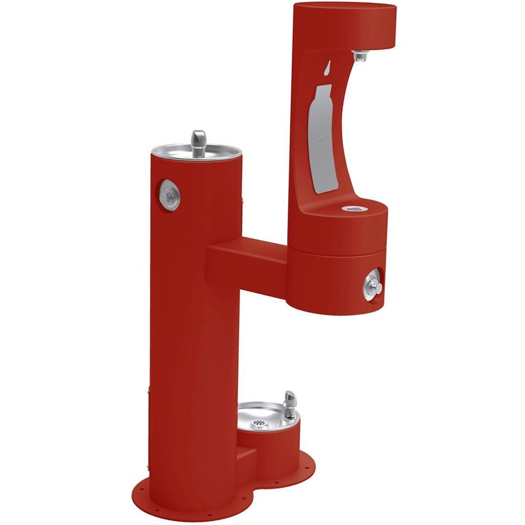Elkay Outdoor Bi-Level Bottle Filling Station with Pet Station Red