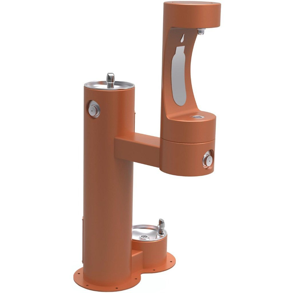 Elkay Outdoor Bi-Level Bottle Filling Station with Pet Station Terracotta