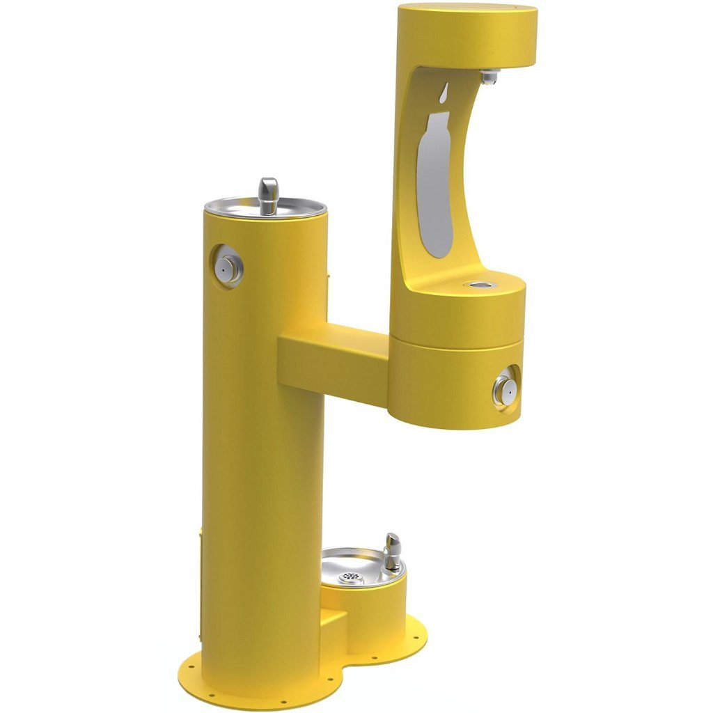 Elkay Outdoor Bi-Level Bottle Filling Station with Pet Station Yellow