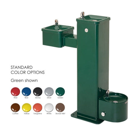 Haws 3500D Bilevel Pedestal Fountain with Pet Bowl Green Powder Coated
