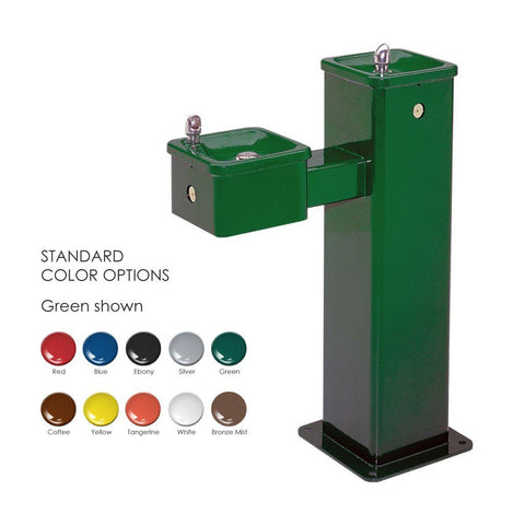 Haws 3500 Bilevel Pedestal Fountain Green Powder Coated
