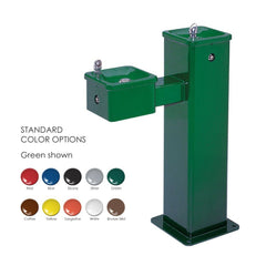 Haws 3500FR Freeze Resistant Outdoor Bilevel Drinking Fountain Green Powder Coated