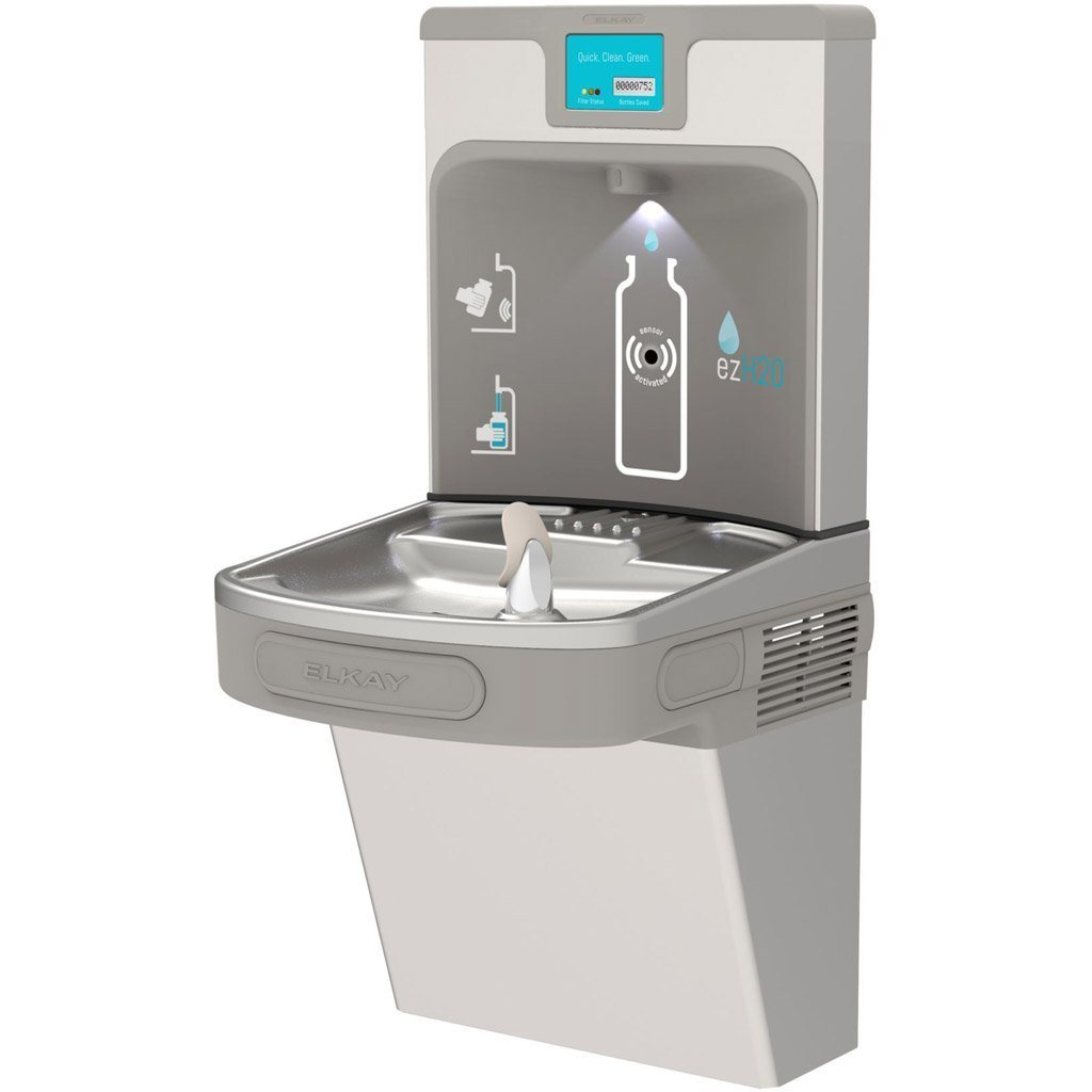 Stainless Steel Elkay Water Fountain with Filtered Bottle Filling Station
