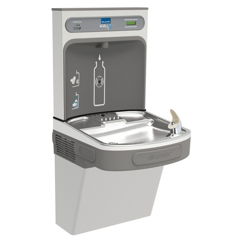 Elkay Single Filtered Water Fountain and EZH2O Bottle Filling Station