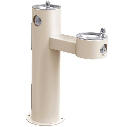 Elkay Outdoor Bi-Level ADA Pedestal Drinking Fountain Beige