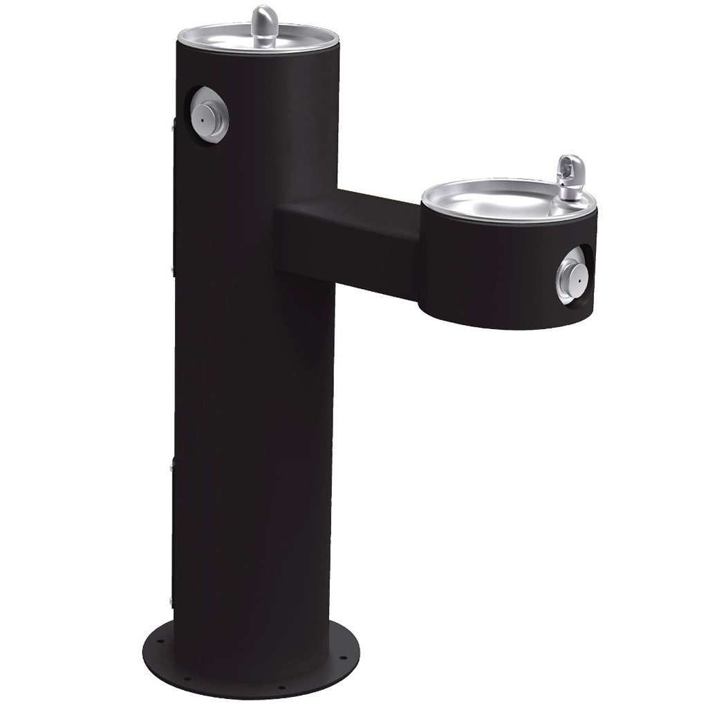 Elkay Outdoor Bi-Level ADA Pedestal Drinking Fountain Black
