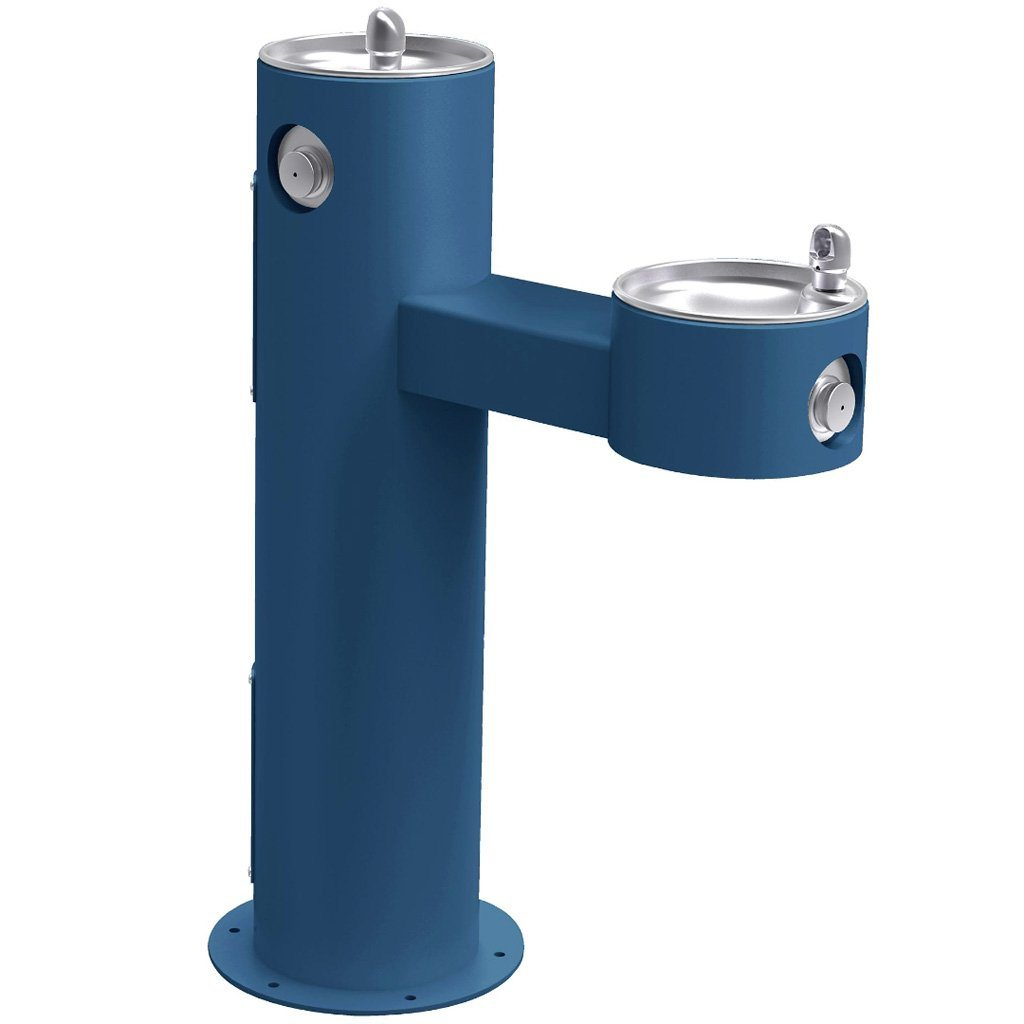 Elkay Outdoor Bi-Level ADA Pedestal Drinking Fountain Blue