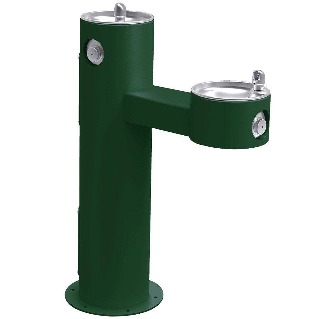 Elkay Outdoor Bi-Level ADA Pedestal Drinking Fountain Evergreen
