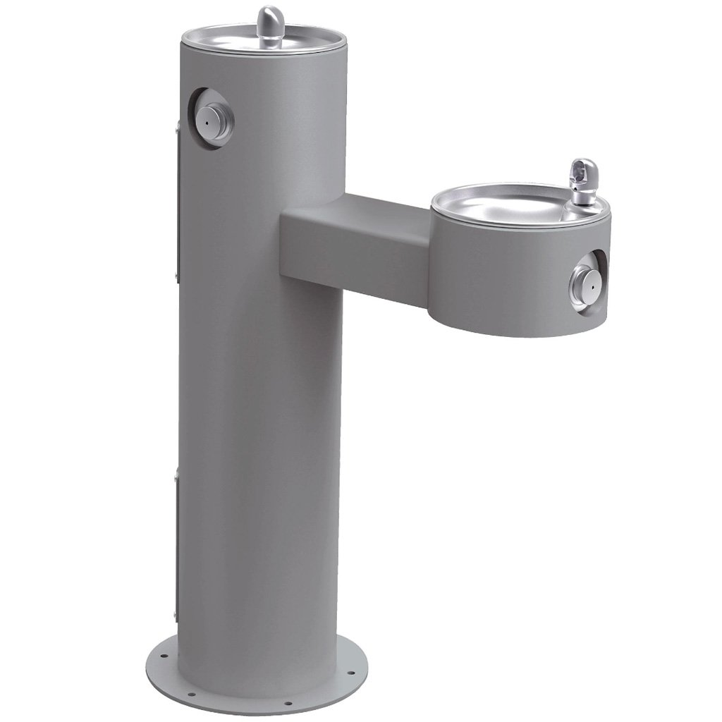 Elkay Outdoor Bi-Level ADA Pedestal Drinking Fountain Gray
