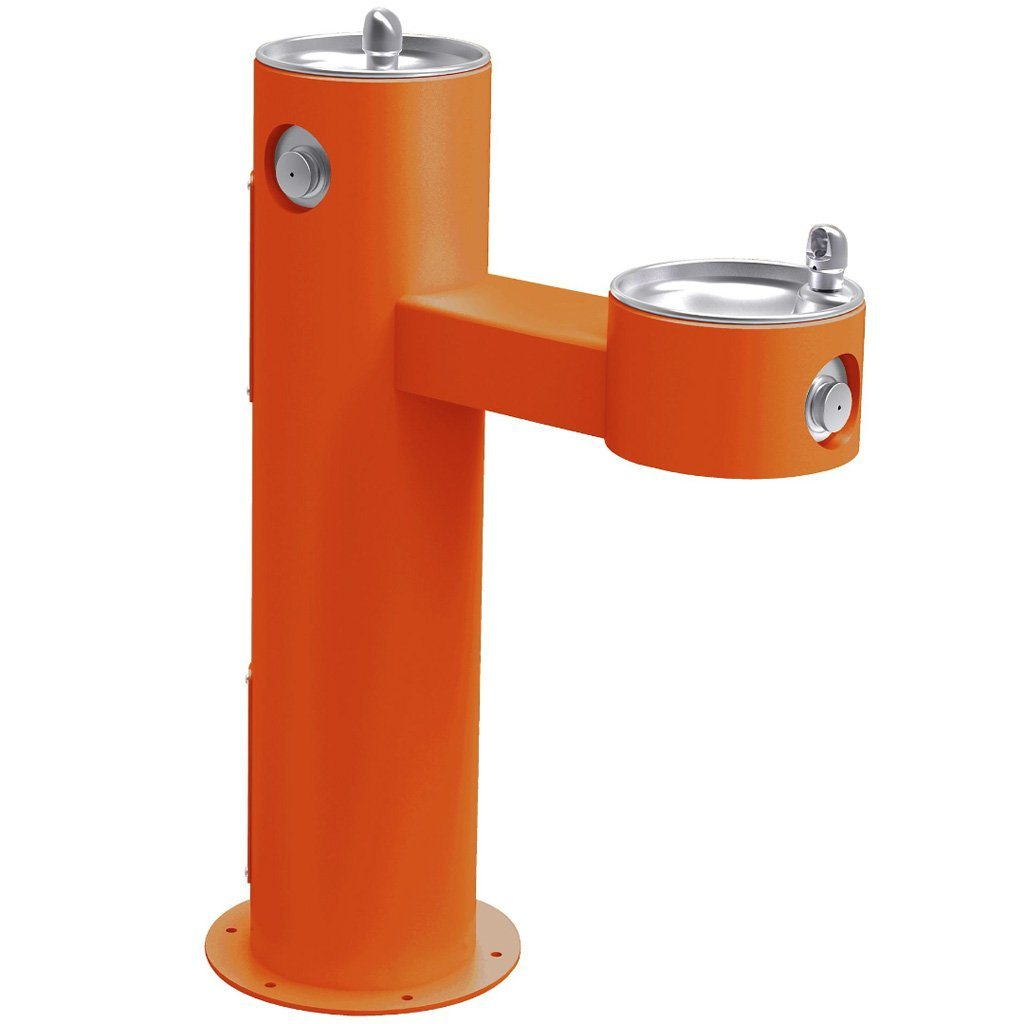 Elkay Outdoor Bi-Level ADA Pedestal Drinking Fountain Orange