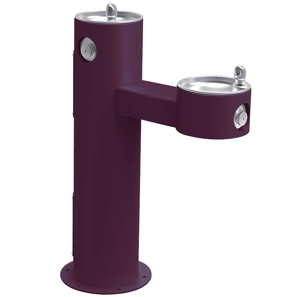 Elkay Outdoor Bi-Level ADA Pedestal Drinking Fountain Purple