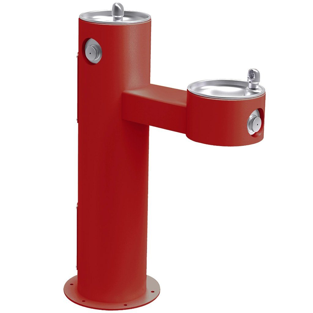 Elkay Outdoor Bi-Level ADA Pedestal Drinking Fountain Red