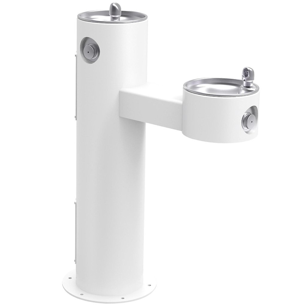 Elkay Outdoor Bi-Level ADA Pedestal Drinking Fountain White