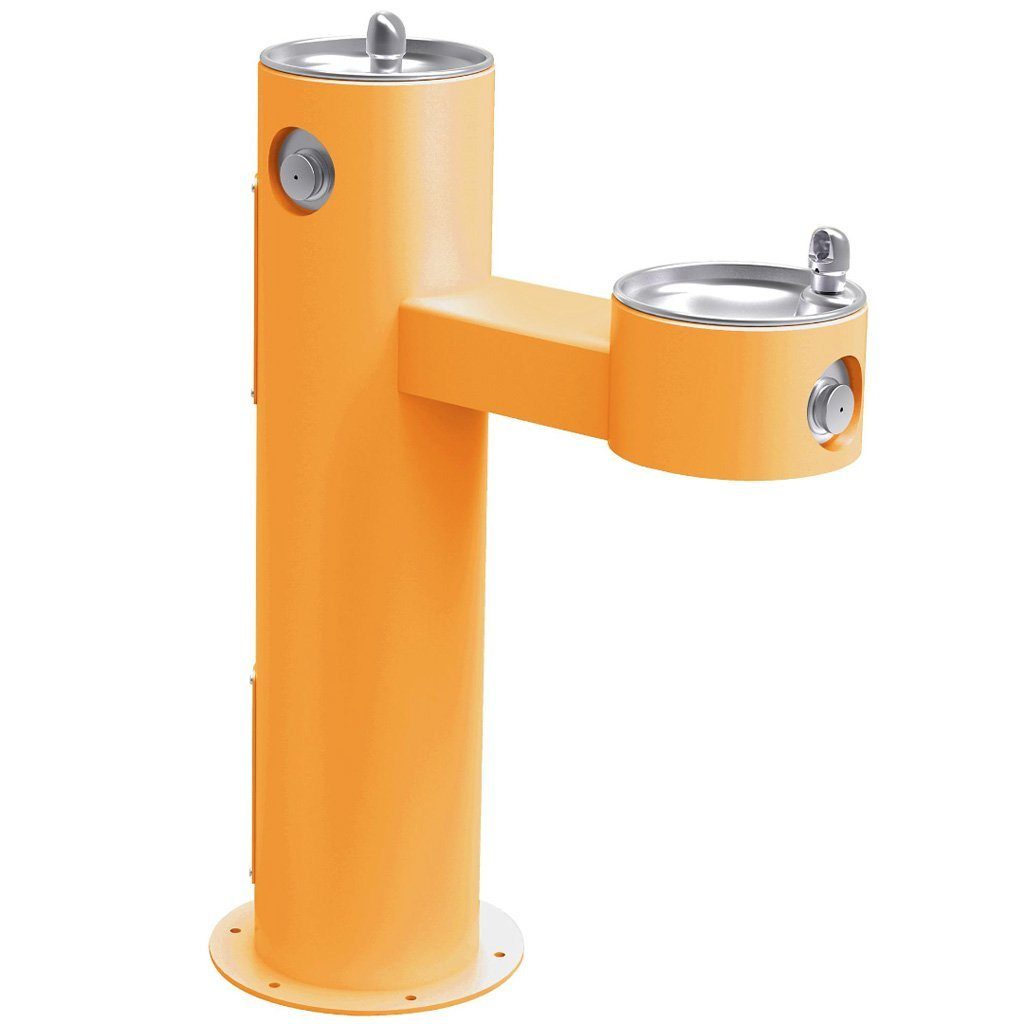 Elkay Outdoor Bi-Level ADA Pedestal Drinking Fountain Yellow