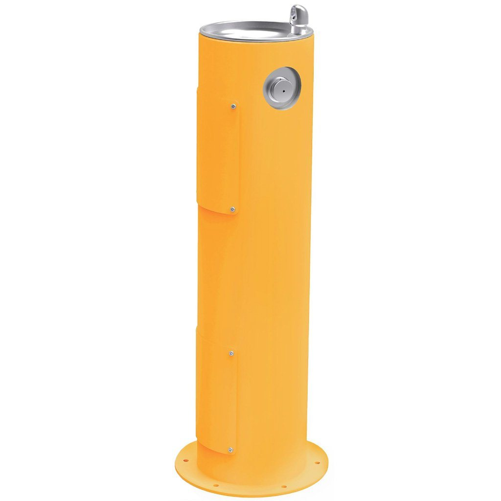 Elkay Outdoor Pedestal Drinking Fountain Yellow