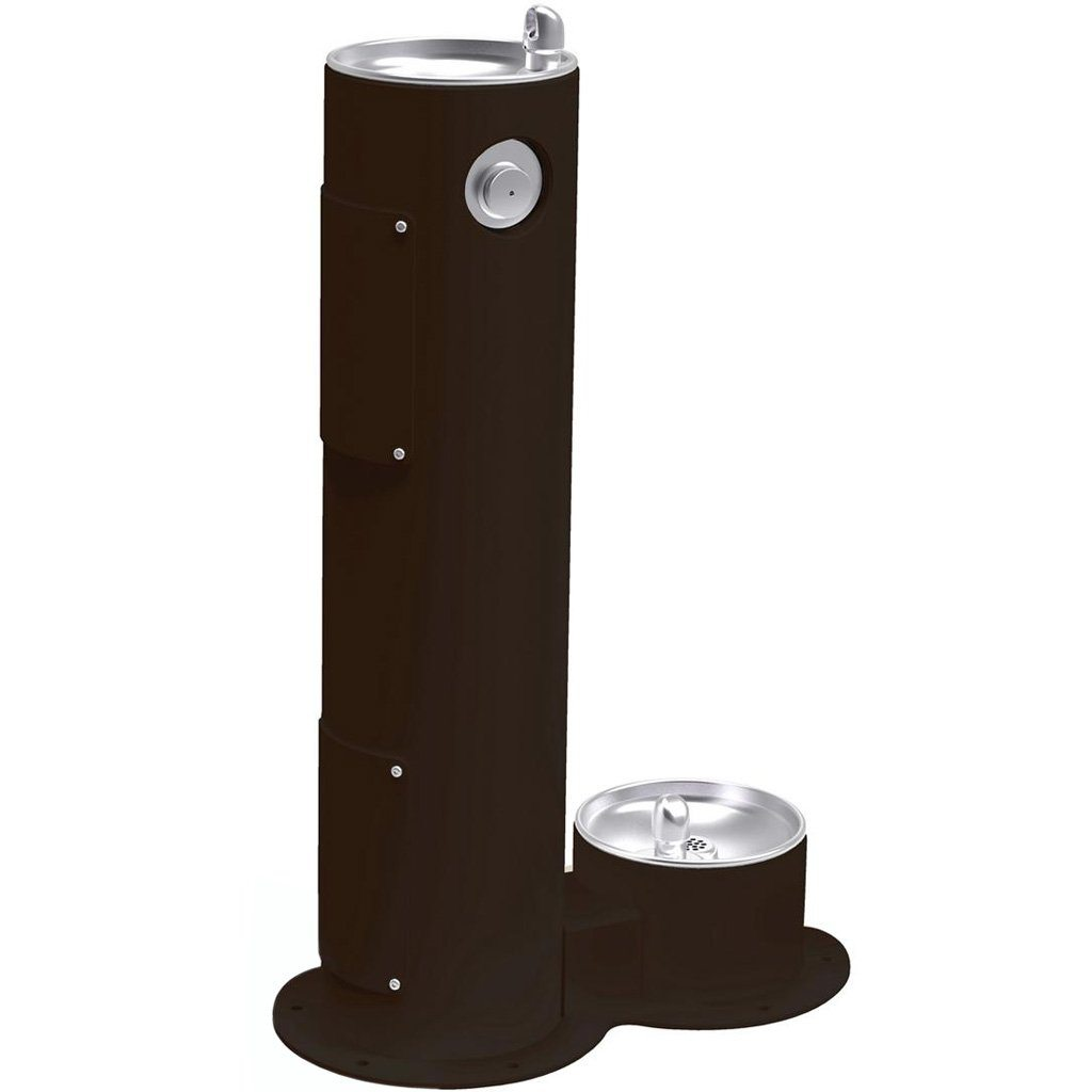 Elkay Outdoor Pedestal Drinking Fountain with Pet Fountain Black
