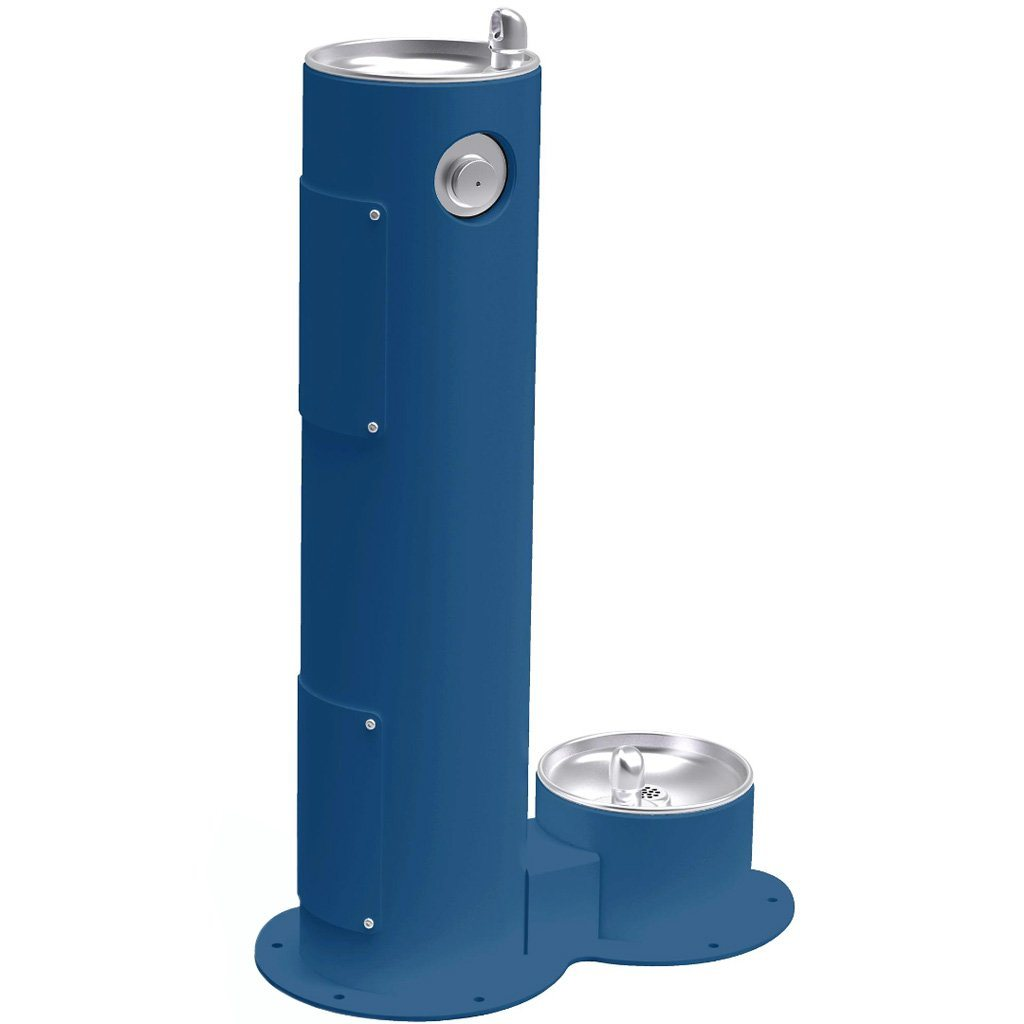 Elkay Outdoor Pedestal Drinking Fountain with Pet Fountain Blue