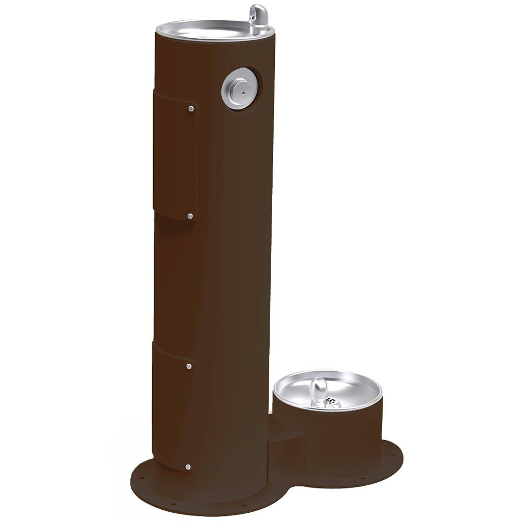 Elkay Outdoor Pedestal Drinking Fountain with Pet Fountain Brown