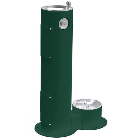 Elkay Outdoor Pedestal Drinking Fountain with Pet Fountain Evergreen