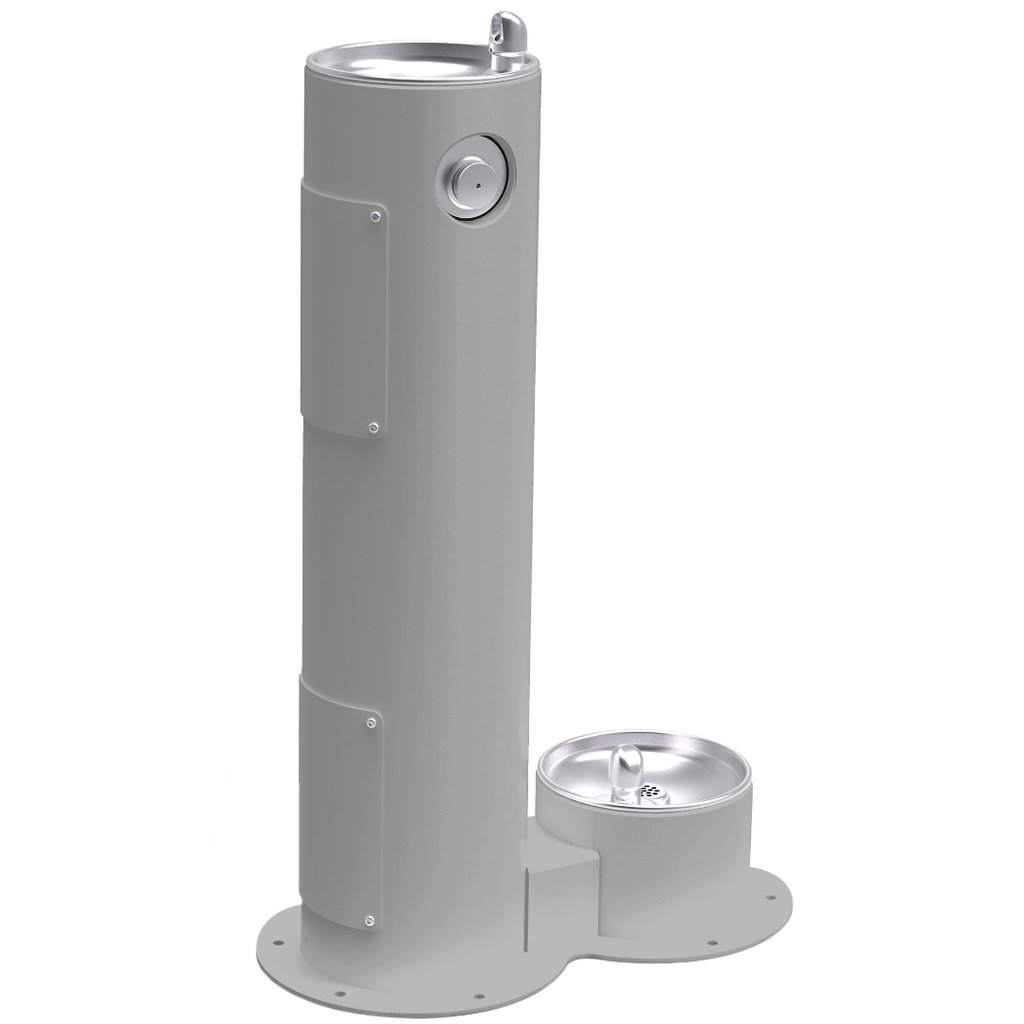 Elkay Outdoor Pedestal Drinking Fountain with Pet Fountain Gray