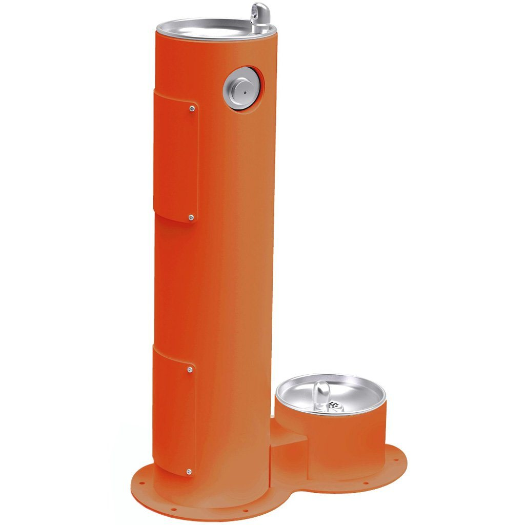 Elkay Outdoor Pedestal Drinking Fountain with Pet Fountain Orange