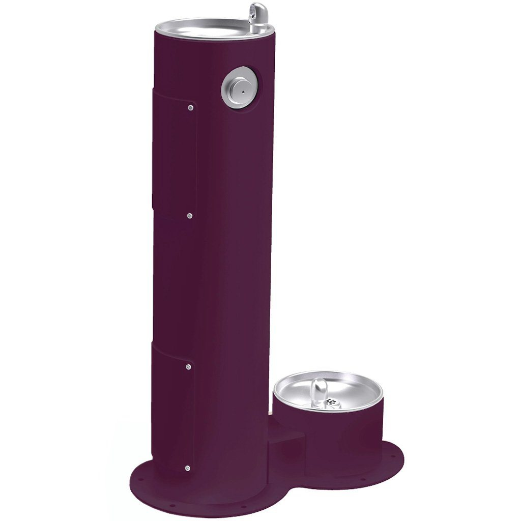 Elkay Outdoor Pedestal Drinking Fountain with Pet Fountain Purple