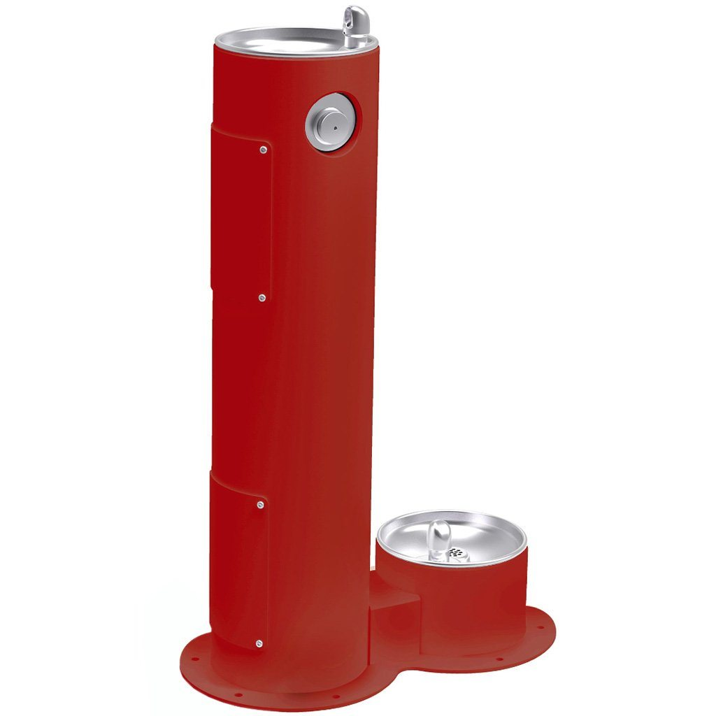 Elkay Outdoor Pedestal Drinking Fountain with Pet Fountain Red